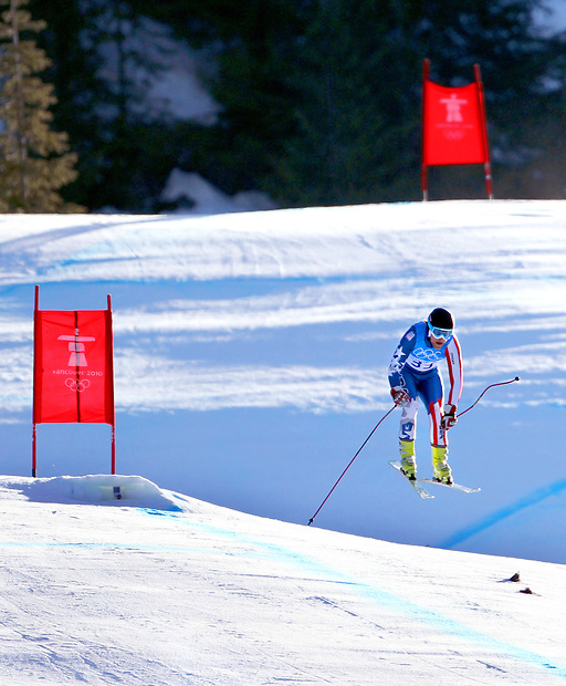 USA's Will Brandenberg (33) flies through the air while descending to the finish line in the downhill portion of the men's super combined on Sunday, February 21, 2010 at the XXI Olympic Winter Games in Whistler, British Columbia.