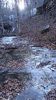 NWA Democrat-Gazette/FLIP PUTTHOFF<br />A frozen waterfall is seen Jan. 19 2018 along the Buffalo River Trail.