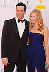 LOS ANGELES, CA - SEPTEMBER 23: Jon Hamm and Jennifer Westfeldt  arrive at the 64th Primetime Emmy Awards at Nokia Theatre L.A. Live on September 23, 2012 in Los Angeles, California.