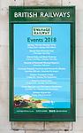 British Railways rail advertising poster advertising 2018 events Swanage railway station, Dorset, England, UK