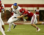 VERMILLION, SD - NOVEMBER 18: Dallas Goedert #86 from South Dakota State University is brought down by Jim Litrenta #43 from the University of South Dakota during their game Saturday afternoon at the DakotaDome in Vermillion. (Photo by Dave Eggen/Inertia)