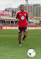06 October 2012: D.C. United defender Ethan White #15 coming off the pitch after warm-up in an MLS game between D.C. United and Toronto FC at BMO Field in Toronto, Ontario..D.C. United won 1-0..