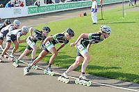 INLINE-SKATEN: HAULERWIJK: Skeelervereniging 'De Draai', 16-06-2012, Elma de Vries (#81) op kop, daarachter Bianca Roosenboom (#19), Brooke Lochland (#56), Mariska Huisman (#63), Nele Armee (#60) ©foto Martin de Jong