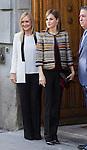 Spanish Queen Letizia and Cristina Cifuentes  entering the headquarters of the Organization Medical College in Madrid, Spain. October 26, 2016. (ALTERPHOTOS/Rodrigo Jimenez)