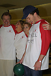 "Guiding Light's Jerry verDorn (Ross), Kim Zimmer (Reva), Liz Kiefer (Blake) and Tom Pelphrey (Johnathan) at the ""Bloss"" Bowling Event during the Guiding Light weekend on October 15, 2005 at the Port Authority, NY (Photo by Sue Coflin)"
