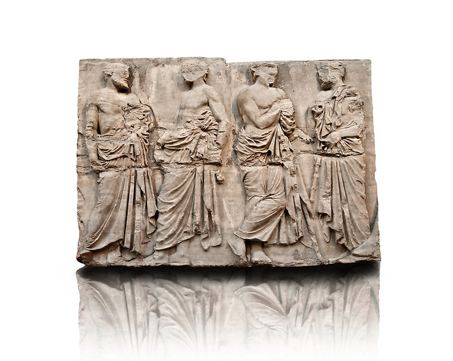 Marble Releif Sculptures from the east frieze around the Parthenon Block IV 20-23. From the Parthenon of the Acropolis Athens. A British Museum Exhibit known as The Elgin Marbles