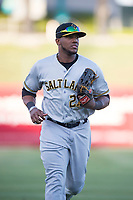 Salt Lake Bees left fielder Rymer Liriano (27) jogs off the field between innings of a Pacific Coast League game against the Fresno Grizzlies at Chukchansi Park on May 14, 2018 in Fresno, California. Fresno defeated Salt Lake 4-3. (Zachary Lucy/Four Seam Images)