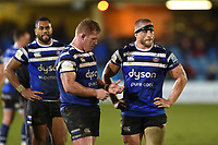 Bath Rugby players look dejected after the match. Gallagher Premiership match, between Bath Rugby and Sale Sharks on December 2, 2018 at the Recreation Ground in Bath, England. Photo by: Patrick Khachfe / Onside Images