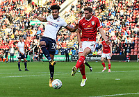 Bolton Wanderers' Derik Osede Prieto competing with Crewe Alexandra's Chris Porter <br /> <br /> Photographer Andrew Kearns/CameraSport<br /> <br /> The Carabao Cup - Crewe Alexandra v Bolton Wanderers - Wednesday 9th August 2017 - Alexandra Stadium - Crewe<br />  <br /> World Copyright &copy; 2017 CameraSport. All rights reserved. 43 Linden Ave. Countesthorpe. Leicester. England. LE8 5PG - Tel: +44 (0) 116 277 4147 - admin@camerasport.com - www.camerasport.com