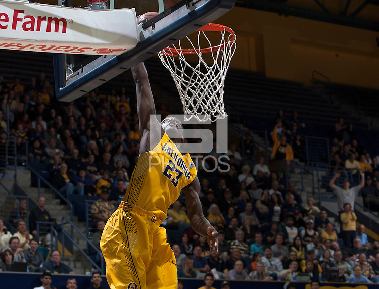 Jabari Bird of California dunks the ball during 2014 National Invitation Tournament against Arkansas at Haas Pavilion in Berkeley, California on March 24th, 2014.  California defeated Arkansas, 75-64.