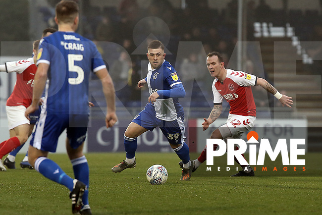 Glenn Whelan of Fleetwood Town and Josh Barrett of Bristol Rovers during the Sky Bet League 1 match between Bristol Rovers and Fleetwood Town at the Memorial Stadium, Bristol, England on 25 January 2020. Photo by Dave Peters / PRiME Media Images.