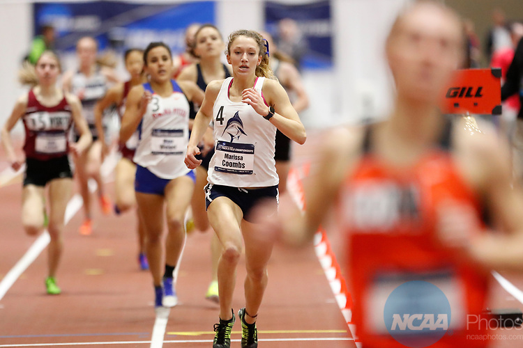 NAPERVILLE, IL - MARCH 11: Marissa Coombs of Virginia Wesleyan College runs in the mile at the Division III Men's and Women's Indoor Track and Field Championship held at the Res/Rec Center on the North Central College campus on March 11, 2017 in Naperville, Illinois. (Photo by Steve Woltmann/NCAA Photos via Getty Images)