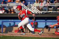 Batavia Muckdogs second baseman Giovanny Alfonzo (8) at bat during a game against the Williamsport Crosscutters on July 15, 2015 at Dwyer Stadium in Batavia, New York.  Williamsport defeated Batavia 6-5.  (Mike Janes/Four Seam Images)