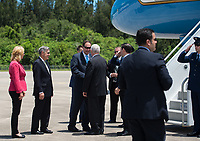 In this photo released by the National Aeronautics and Space Administration (NASA) United States Vice President Mike Pence greets Acting NASA Administrator Robert Lightfoot after arriving at the Shuttle Landing Facility (SLF) to highlight innovations made in America and tour some of the public/private partnership work that is helping to transform Kennedy Space Center (KSC) into a multi-user spaceport on Thursday, July 6, 2017 in Cape Canaveral, Florida. Photo Credit: Aubrey Gemignani/NASA/CNP/AdMedia