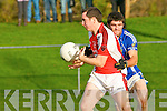 Shane McSweeney Laune Rangers tackles Mike Riordan Rathmore during their division 1 clash in Killorglin on Saturday