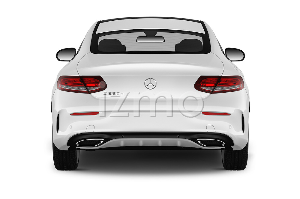 Straight rear view of 2016 Mercedes Benz C-Class Sportline 2 Door Coupe Rear View  stock images