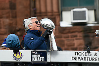February 4, 2015 - Boston, Massachusetts, U.S. -  New England Patriots owner Robert Kraft rides on the back of a truck during a parade held in Boston to celebrate the team's victory over the Seattle Seahawks in Super Bowl XLIX. Eric Canha/CSM