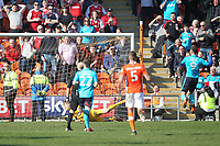Fleetwood Town's Wes Burns scores his sides first goal  <br /> <br /> Photographer Mick Walker/CameraSport<br /> <br /> The EFL Sky Bet League One - Blackpool v Fleetwood Town - Saturday 14th April 2018 - Bloomfield Road - Blackpool<br /> <br /> World Copyright &copy; 2018 CameraSport. All rights reserved. 43 Linden Ave. Countesthorpe. Leicester. England. LE8 5PG - Tel: +44 (0) 116 277 4147 - admin@camerasport.com - www.camerasport.com