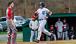 WASHINGTON,  CT-041819JS14- Shepaug's Ethan Hibbard (3) makes his way past Northwestern's Trevor Grantmeyer (3) to score the go-ahead run, on a sacrifice fly by Jack Pesce (28), by during their game Thursday at Tex Alex Field in Washington.  Shepaug defeated the Highlanders 2-1. <br /> Jim Shannon Republican American