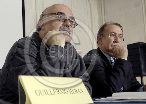 Brussels-Belgium - 21 February 2008---Guillermo HERAS (le), Director of Iberescena (theater, Spain), during a presentation on Spanish theater; with Francisco FERRERO CAMPOS (ri), Director of Instituto Cervantes---Photo: Horst Wagner / eup-images