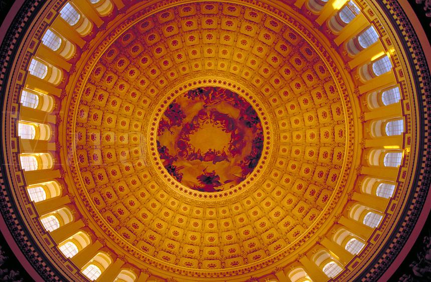 Interior of the U.S. Capitol's Dome. Washington, DC. Tourism, Government, Architecture, Historical. Washington DC USA.