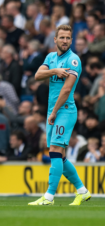 Tottenham Hotspur's Harry Kane takes over as the captain after goalkeeper \ captain Hugo Lloris suffered a dislocated elbow <br /> <br /> Tottenham Hotspur's Hugo Lloris <br /> <br /> Photographer David Horton/CameraSport<br /> <br /> The Premier League - Brighton and Hove Albion v Tottenham Hotspur - Saturday 5th October 2019 - The Amex Stadium - Brighton<br /> <br /> World Copyright © 2019 CameraSport. All rights reserved. 43 Linden Ave. Countesthorpe. Leicester. England. LE8 5PG - Tel: +44 (0) 116 277 4147 - admin@camerasport.com - www.camerasport.com