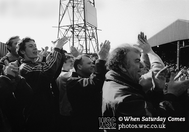 Celebrating Alan Moore's winning goal in the Holgate End Boro v Stoke 8TH April 1995. Photo by Paul Thompson