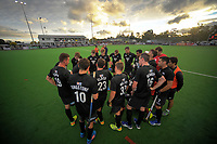 The NZ team huddles during the international men's hockey match between the NZ Black Sticks and Pakistan at Twin Turfs in Clareville, New Zealand on Wednesday, 22 March 2017. Photo: Dave Lintott / lintottphoto.co.nz