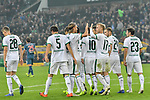04.11.2018, Stadion im Borussia-Park, Moenchengladbach, GER, 1. FBL, Borussia Moenchengladbach vs. Fortuna Duesseldorf, DFL regulations prohibit any use of photographs as image sequences and/or quasi-video<br /> <br /> im Bild die Mannschaft von Moenchengladbach Jubel / Freude / Emotion / Torjubel / Torschuetze zum 3:0 Thorgan Hazard (#10, Borussia M?nchengladbach / Moenchengladbach) <br /> <br /> Foto &copy; nordphoto/Mauelshagen
