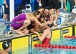 Wales 4x100m Medley team celebrate winning Bronze <br /> <br /> *This image must be credited to Ian Cook Sportingwales and can only be used in conjunction with this event only*<br /> <br /> 21st Commonwealth Games - Swimming -  Day 6 - 10\04\2018 - Gold Coast Optus Aquatic centre - Gold Coast City - Australia
