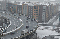WEEHAWKEN NYJ- FEBRUARY 20: The Lincoln Tunnel lines are see as snow falls on February 20, 2019 from Weehawken New Jersey. (Photo by Kena Betancur/VIEWpress)
