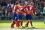 Atletico de Madrid's players celebrating a goal during BBVA La Liga match. April 02,2016. (ALTERPHOTOS/Borja B.Hojas)