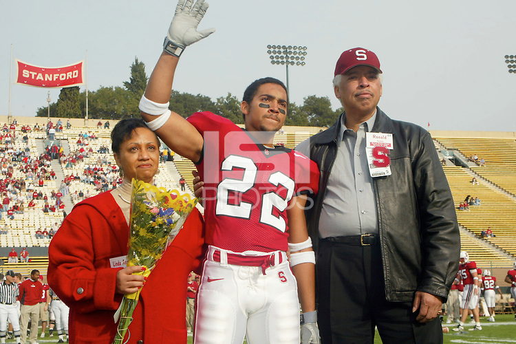Evan Combs on Senior Day before Stanford's 31-21 loss to Oregon State on November 16, 2002.<br />