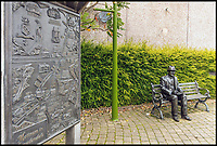 BNPS.co.uk (01202 558833)<br /> Pic: Bridgfords/BNPS<br /> <br /> Statue of Lowry is just round the corner in Mottram.<br /> <br /> Home is where the art is...Matchstick man LS Lowry's former home in Manchester could be yours - complete with his paint splattered floor boards in the dining room.<br /> <br /> The famous painter renowned for his matchstick men in urban landscapes lived in The Elms in Mottram, Greater Manchester, for 28 years until his death in 1976 and produced several important works in his studio in what is now the dining room.<br /> <br /> The Grade II listed house, which has a blue plaque dedicated to Lowry on the wall, is now on the market with Bridgfords for offers over &pound;325,000.