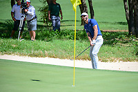 Dustin Johnson (USA) hits from the trap on 7 during round 5 of the World Golf Championships, Dell Technologies Match Play, Austin Country Club, Austin, Texas, USA. 3/25/2017.<br /> Picture: Golffile | Ken Murray<br /> <br /> <br /> All photo usage must carry mandatory copyright credit (&copy; Golffile | Ken Murray)