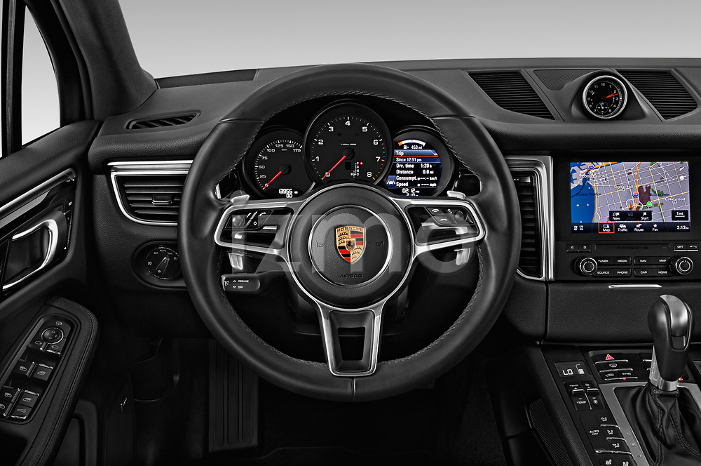 Car pictures of steering wheel view of a 2018 Porsche Macan Base 5 Door SUV