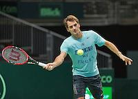 Switserland, Genève, September 17, 2015, Tennis,   Davis Cup, Switserland-Netherlands, Roger Federer practise<br /> Photo: Tennisimages/Henk Koster
