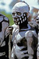 "Papua New Guinea, Western Highlands Province, Mt. Hagen Cultural Show,  ""skeleton"" boy"