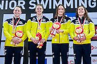 Team Australia AUS<br /> 4X200 Freestyle Relay Women Final Gold Medal and New World Junior Record<br /> Day01 25/08/2015 - OCBC Aquatic Center<br /> V FINA World Junior Swimming Championships<br /> Singapore SIN  Aug. 25-30 2015 <br /> Photo A.Masini/Deepbluemedia/Insidefoto