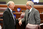 Nevada Assemblymen Paul Aizley, D-Las Vegas, left, and Pat Hickey, R-Reno, talk on the Assembly floor at the Legislative Building in Carson City, Nev., on Thursday, April 4, 2013..Photo by Cathleen Allison