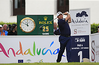 Lee Westwood (ENG) tees off the 1st tee during Sunday's storm delayed Final Round 3 of the Andalucia Valderrama Masters 2018 hosted by the Sergio Foundation, held at Real Golf de Valderrama, Sotogrande, San Roque, Spain. 21st October 2018.<br /> Picture: Eoin Clarke | Golffile<br /> <br /> <br /> All photos usage must carry mandatory copyright credit (&copy; Golffile | Eoin Clarke)