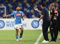 25th July 2020; Stadio San Paolo, Naples, Campania, Italy; Serie A Football, Napoli versus Sassuolo; Lorenzo Insigne of Napoli receives instructions from Gennaro Gattuso coach of Napoli