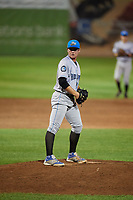 Hudson Valley Renegades Trey Cumbie (36) gets ready to deliver a pitch during a game against the Auburn Doubledays on September 5, 2018 at Falcon Park in Auburn, New York.  Hudson Valley defeated Auburn 11-5.  (Mike Janes/Four Seam Images)