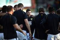 Elliot Daly of Wasps looks on during the pre-match warm-up. Aviva Premiership match, between Leicester Tigers and Wasps on November 1, 2015 at Welford Road in Leicester, England. Photo by: Patrick Khachfe / Onside Images