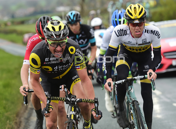 Picture by Alex Broadway/SWpix.com - 01/05/2016 - Cycling - Tour de Yorkshire, Stage 3: Middlesbrough to Scarborough - Yorkshire, England - Thomas Voeckler of Direct Energie leads the breakaway in the final stages of the race.