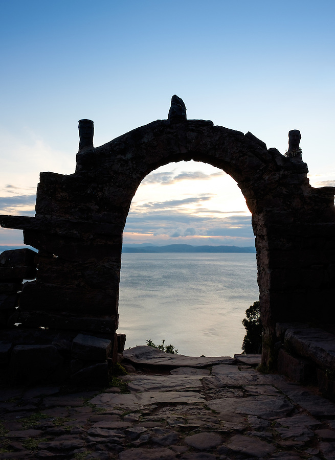 PUNO, PERU - CIRCA OCTOBER 2015:  Arch of the Island of Taquile in Lake Titicaca.