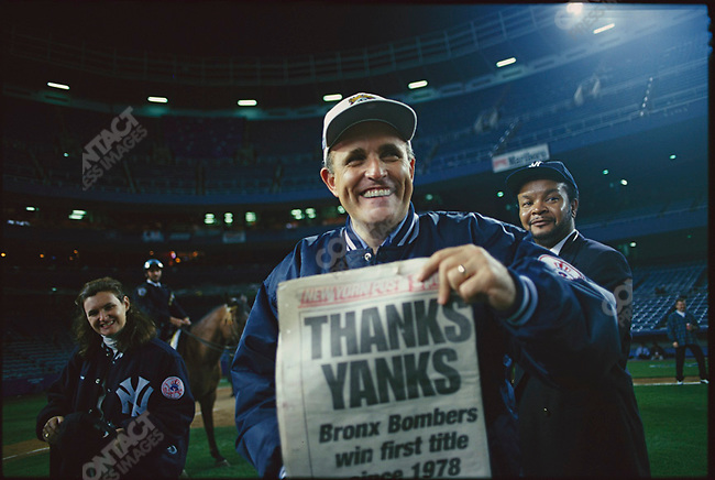 New York Mayor Rudolph Giuliani at Yankee Stadium, celebrating the New York Yankee's World Series victory. New York City, New York, USA,  October 1996.