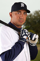 February 27, 2010:  Outfielder Carlos Guillen (9) of the Detroit Tigers poses for a photo during media day at Joker Marchant Stadium in Lakeland, FL.  Photo By Mike Janes/Four Seam Images