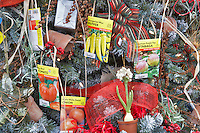 Christmas decorations on Christmas tree theme-garden. Al's Nursery. Woodburn. Oregon