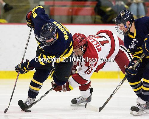 Carter Madsen (Merrimack - 9), Alex Killorn (Harvard - 19), Elliott Sheen (Merrimack - 11) -  - The visiting Merrimack College Warriors defeated the Harvard University Crimson 3-1 (EN) at Bright Hockey Center on Tuesday, November 30, 2010.